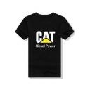 Unique Simple Letter CAT Excavator Print Cotton Short Sleeve T-Shirt