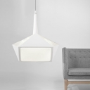 Simple Style Geometric LED Pendant Light with Acrylic Diffuser in White for Restaurant Bedroom