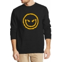 Men's Long Sleeve Round Neck Smile Face Casual Sweatshirt