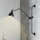 Single Light Dome Wall Sconce Minimalist Modern Adjustable Wall Lamp in Black for Library