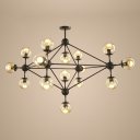 Bubble Shade Suspension Light Designers Style Stylish Transparent Glass Multi Light LED Chandelier