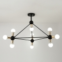 Open Bulb Hanging Modern Industrial Multi Light Chandelier for Study Room Coffee Shop