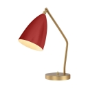 Rotatable Conical Table Light Contemporary 1 Head Reading Light in Red/Yellow with Metal Base