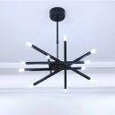 Crossed Lines Chandelier Lamp Modern Metal Multi Light Hanging Lamp in Matte Black