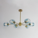Bubble Suspended Lamp Designers Style Blue Glass 6 Light Hanging Light for Sitting Room