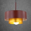 Cylinder Pendant Lamp Minimalist Industrial Aluminum Art Deco Suspension Light in Brown