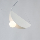 Bounce Pendant Light Stylish Designers Style Hanging Light in White with Metal Veneer