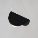 Metal Folded Shade Suspension Light Minimalist Ceiling Lamp in Black for Kitchen
