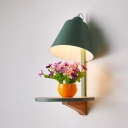 Conical Wall Lamp Contemporary Colorful Metal Wall Light with Wood Base for Corridor Hotel