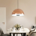 Rose Gold Dome LED Pendant Light Post Modern Metal 1 Light Hanging Pendant Lighting