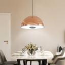 Rose Gold Dome LED Pendant Light Post Modern Metal 1 Light Hanging Pendant Lighting