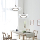 Acrylic Panels LED Hanging Lamp Modern Style Single Pendant Lighting Fixture in White
