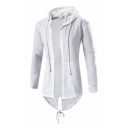 Men's Stylish Zip-Embellished Long Sleeve High Low Hem Open Front Drawstring Hoodie