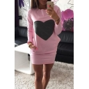 Heart Printed Long Sleeve Round Neck Leisure Pencil Mini Dress