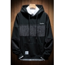 Men's New Arrival Logo Print Chest Fashion Patchwork Long Sleeve Cotton Hoodie