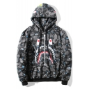 Popular Shark Mouth Print Classic Camouflage Long Sleeve Black Drawstring Zip Hoodie