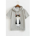 Casual Lovely Cat Embroidered Short Sleeve Drawstring Hooded Tee