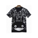 Black Short Sleeve Round Neck Totora Printed Cotton Tee