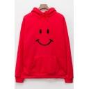Unisex Long Sleeve Smile Face Pattern Leisure Drawstring Hoodie