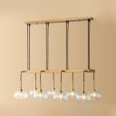 Inner Glass Shade Round Suspension Lamp Post Modern Clear Glass Multi Light LED Hanging Light