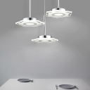 3 Light Floral Drop Light Simplicity Acrylic Suspended Light in White for Hallway Dining Table