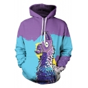 Popular 3D Cartoon Animal Print Colorblock Sports Casual Blue and Purple Hoodie