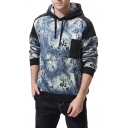 Men's Chic Pocket Patched Chest Floral Print Colorblock Loose Casual Hoodie