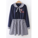 Peter Pan Collar Long Sleeve Cartoon Bear Patch Plaid Button Embellished Mini A-Line Navy Dress