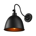 Small Barn Light Gooseneck Pewter Finish Dome Shade LED Wall Sconce