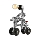 Industrial Plumbing Robot Table Lamp in Silver Finsh wiht Valve and Wheel Accent