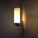 Tube Shade Wall Lighting Concise White Glass 1 Light Sconce Lighting in Chrome for Bedside