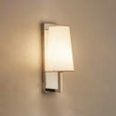 Fabric Tapered Wall Mount Fixture Simplicity Single Head Sconce Lighting in Chrome
