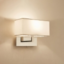 Modern Rectangle Shade Wall Lighting Stainless 2 Bulb Sconce Light in Chrome for Bedside