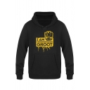 Stylish Cartoon Letter I AM GROOT Print Regular Fitted Pullover Hoodie for Men