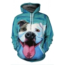 Men's 3D Cartoon Dog Printed Loose Casual Relaxed Green Hoodie