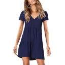 Hot Popular V-Neck Short Sleeve Simple Plain Mini A-Line Pleated Dress