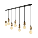 7 Light Linear LED Mulit Light Pendant in Antique Brass for Kitchen Bar Counter Restaurant