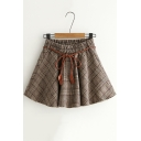 Retro Khaki Plaid Printed Elastic Tied Waist Mini A-Line Skirt for Students