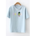 Cute Simple Letter Pineapple Embroidered Ruffle Round Neck Short Sleeve T-Shirt