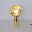 Designers Style Table Light Acrylic Single Light LED Desk Lamp in Gold for Bedroom