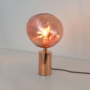 Copper LED Table Lamp Post Modern Designers Style Acrylic 1 Head Decorative Desk Light