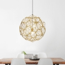 Etched Globe Suspended Light Modern Design Stainless 1 Head Lighting Fixture in Gold