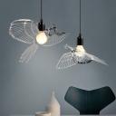 Silver Open Bulb Suspended Light Modern Design Metal 1 Head Pendant Lamp with Bird Decoration