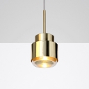 Cylinder Ceiling Pendant Light Designers Style Metal Single Light Art Deco Suspended Lamp