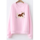 Lovely Cartoon Dog Embroidered Round Neck Long Sleeve Loose Fit Pullover Sweatshirt