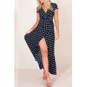 Summer's Vintage Polka Dot Printed Short Sleeve V-Neck Split Front Maxi A-Line Dress