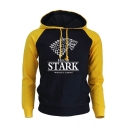 Trendy Wolf Head Logo Print Letter STARK Print Colorblock Long Sleeve Men's Drawstring Hoodie