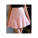 Girls Elastic High Waist Simple Plain Pink Mini A-Line Knit Pleated Skirt