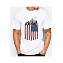 Unique America Flag City Building Print Basic Short Sleeve White T-Shirt for Men