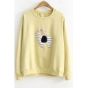 Basic Round Neck Long Sleeve Lovely Cartoon Elephant Patched Leisure Loose Sweatshirt